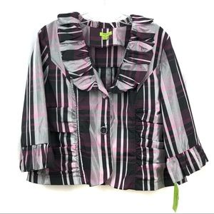 Agora NWT Formal Wear Top Black/Pink Plaid XL